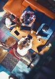 Grupp av ungdomarsom sitter på ett kafé, med mobiler och minnestavlor Arkivfoto
