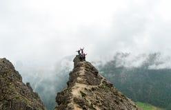 Grupp av ungdomarsom står på ett brant maximum och vinka för berg arkivfoto