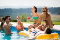 Grupp av ungdomarsom tycker om sommar på pölen fotografering för bildbyråer