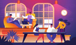 Grupp av ungt lyckat affärsfolk Cowork royaltyfri illustrationer