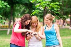 Grupp av utomhus- lyckliga le tonårs- studenter Royaltyfria Bilder