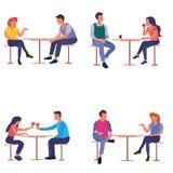 Grupp av vänkvinnan och en man på en tabell i ett kafé royaltyfri illustrationer