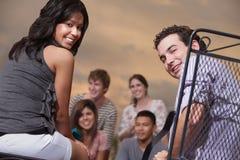Grupp av vänner Fotografering för Bildbyråer
