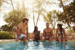 Grupp av vänner på semester som kopplar av bredvid utomhus- pöl fotografering för bildbyråer