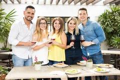 Grupp av vänner som dricker något vin royaltyfri fotografi