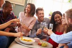 Grupp av vänner som firar med ett hemmastatt rostat bröd arkivfoto