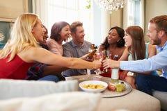 Grupp av vänner som firar med ett hemmastatt rostat bröd royaltyfri bild