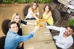Grupp av vänner som gör ett rostat bröd royaltyfri foto