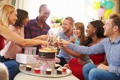 Grupp av vänner som gör ett rostat bröd för att fira födelsedag arkivfoto