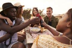 Grupp av vänner som gör ett rostat bröd på Cliff Top Picnic Royaltyfri Foto