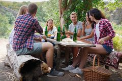 Grupp av vänner som har gyckel, medan äta och dricka på ennic - det lyckliga folket på bbq festar lycklig sommartid arkivbild