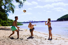 Grupp av vänner som har gyckel på stranden royaltyfri fotografi