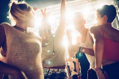 Grupp av vänner som har stor tid på musikfestival royaltyfria bilder