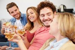 Grupp av vänner som hemma tycker om exponeringsglas av vin Royaltyfria Bilder