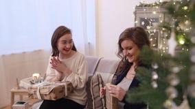 Grupp av vänner som mottar gåvan stock video
