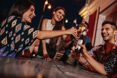 Grupp av vänner som rostar drinkar på partiet i afton Arkivfoton
