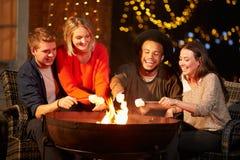 Grupp av vänner som rostar marshmallower vid Firepit Royaltyfria Bilder