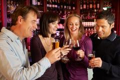 Grupp av vänner som tillsammans tycker om drinkar i stång Royaltyfria Bilder