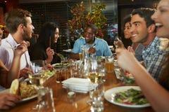 Grupp av vänner som tycker om mål i restaurang Royaltyfria Bilder