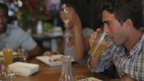 Grupp av vänner som tycker om mål i restaurang arkivfilmer