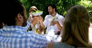 Grupp av vänner som tycker om mål på utomhus- lunch stock video