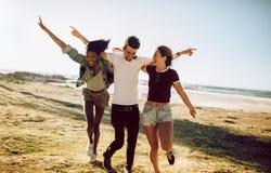 Grupp av vänner som utomhus tycker sig om royaltyfri fotografi