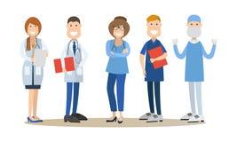 Grupp av vektorillustrationen för medicinska doktorer i plan stil royaltyfri illustrationer