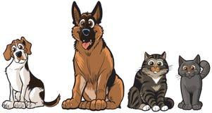 Grupp av vektortecknad filmhundkapplöpning och katter Arkivbilder