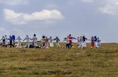 Grupp av vitt brödraskap, sju Rila sjöar i Bulgarien Royaltyfria Foton