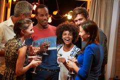 Grupp av vuxna vänner som dricker på ett husparti Arkivbild