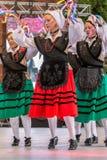 Grupp av womwndansare från Spanien i traditionell dräkt Royaltyfri Bild