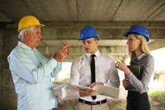 Grupp av yrkesmässiga konstruktionschefer arkivbild