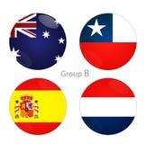 Grupp B - Australien, Chile, Spanien, Nederländerna vektor illustrationer