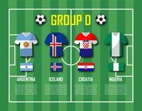 Grupp D för lag för fotbollkopp 2018 Fotbollsspelare med ärmlös tröjalikformign och nationsflaggor Vektor för internationell värl vektor illustrationer