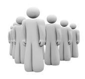 Grupp 3d folk uppställda Team Standing Attention Royaltyfri Bild
