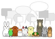 Grupp för älsklings- djur med anförandebubblor vektor illustrationer