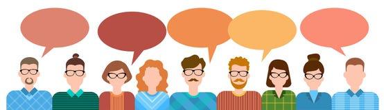 Grupp för affärstecknad filmfolk som talar diskutera det sociala nätverket för pratstundkommunikation Arkivbilder