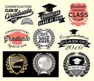 Grupp för avläggande av examensektoruppsättningen av Congrats akademikra lyckönskan 2016 avlägger examen Royaltyfri Foto