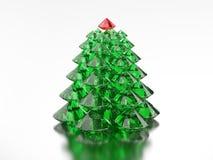 grupp för illustration 3D av det gröna diamantjulträdet med ett rött Royaltyfria Bilder