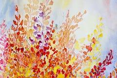 Grupp för original- målning för vattenfärg färgrik av abstrakta blommor stock illustrationer