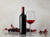 Grupp för rött vinflaskexponeringsglas av druvor på marmorbakgrund Arkivfoto