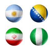 Grupp F för Brasilien världscup 2014 sjunker på fotbollboll vektor illustrationer