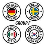 Grupp F för fotbollvärldsmästerskap Fotbollvärldsturnering 2018 i Ryssland isolerad vektorwhite för samling flagga royaltyfri illustrationer