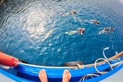 Grupp f?r dykapparatdykning Ban's som dyker mitten semesterort-CDC arkivbilder