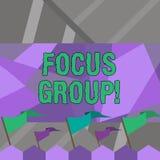 Grupp f?r fokus f?r ordhandstiltext Affärsidé för uppvisning monterad för att delta i diskussion om produktmellanrum vektor illustrationer