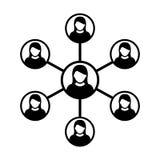 Grupp människor för symbol för vektor för kvinnanätverkssymbol och teamwork av förbindelseaffärspersonen stock illustrationer