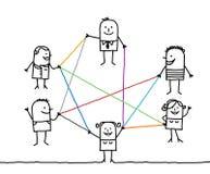 Grupp människor förbindelse av färglinjer Arkivfoto