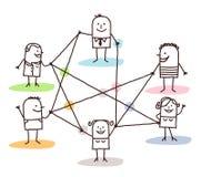 Grupp människor förbindelse av linjer Royaltyfri Foto