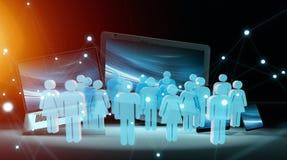Grupp människor framme av den moderna tolkningen för apparater 3D Royaltyfri Bild
