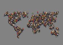 Grupp människor i form av världskartan Globalisering befolkning, socialt begrepp stock illustrationer